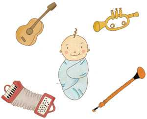 Illustration of Baby with Musical Instruments - Music for Babies