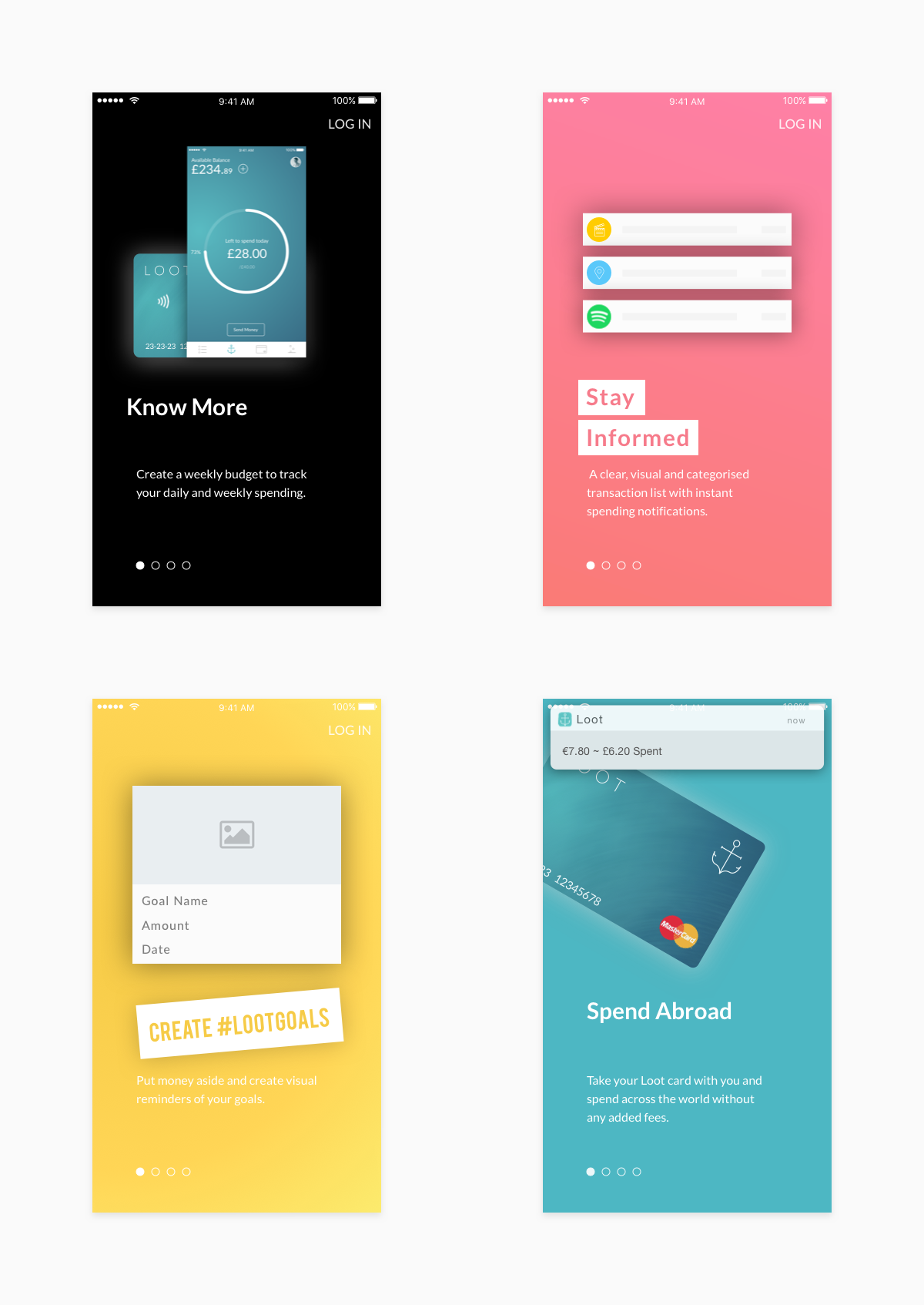 A showcase of the new onboarding screens