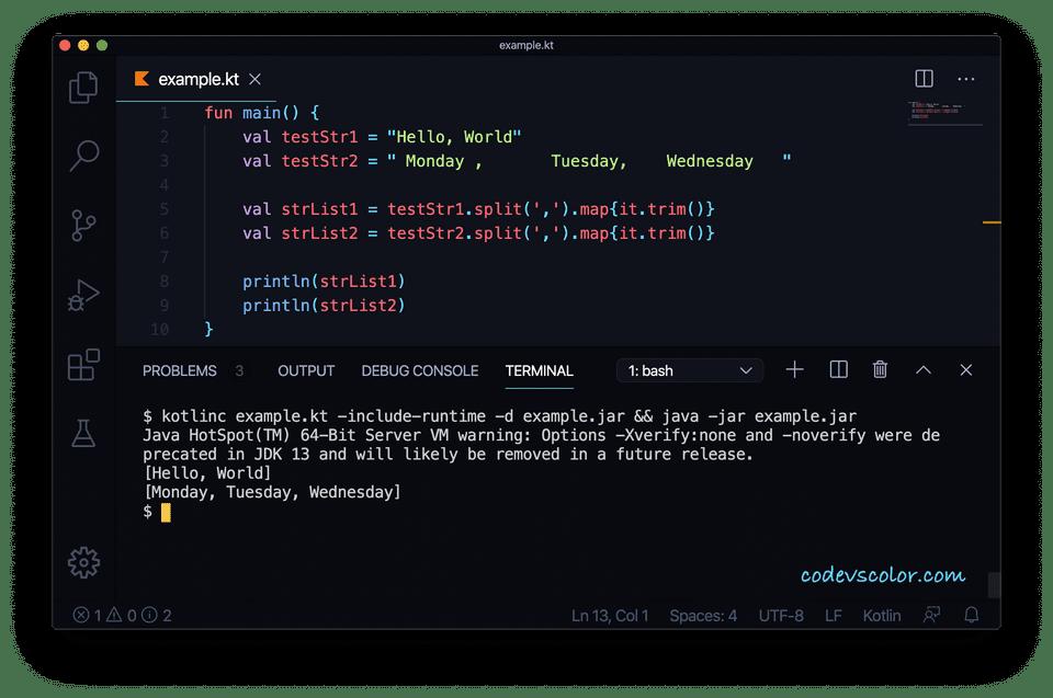Kotlin convert comma separated string list