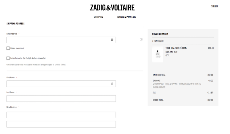 Custom Shopify checkout based on Zadig & Voltaire