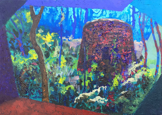 brightly coloured painting of a Martello Tower