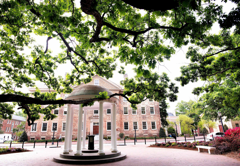 UNC Chapel Hill's Old Well inside the gazebo near a line of tree branches