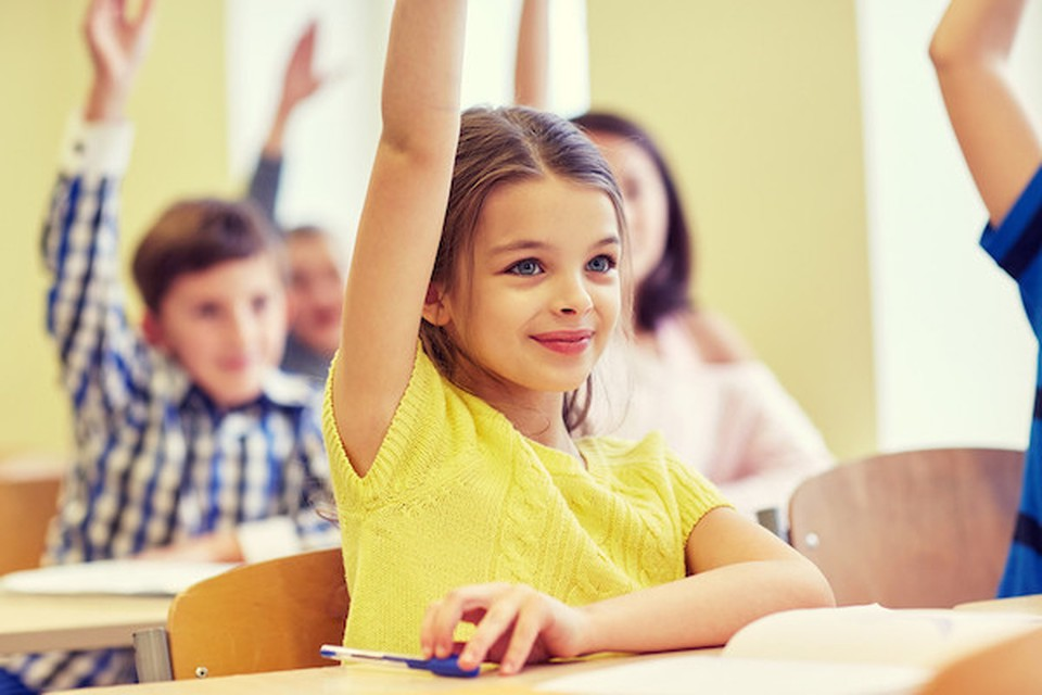 A girl in class with her hand raised