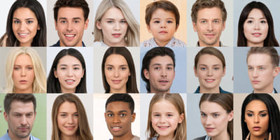 A set of faces of different races and ages.