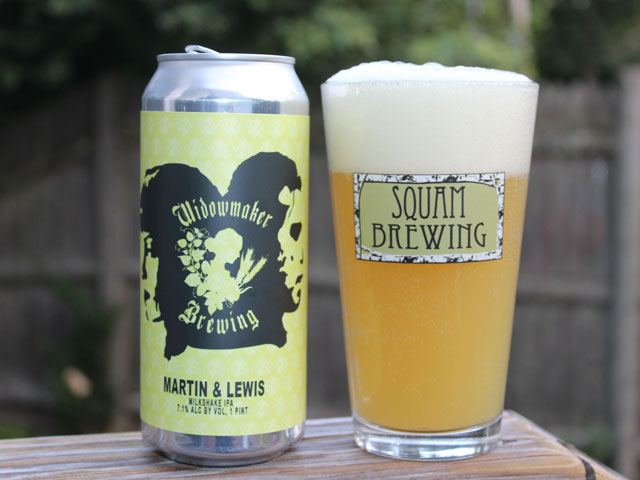 A 16oz can of Martin & Lewis poured into a pint glass