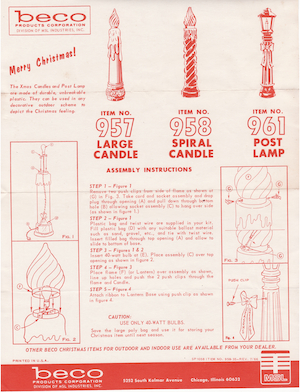 Beco Products Large Candle #957, Spiral Candle #958, Post Lamp #961 Instruction Manual (1966-07).pdf preview