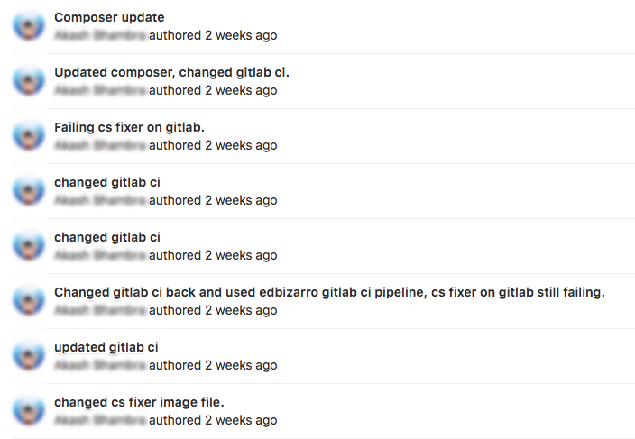 Gitlab commit history