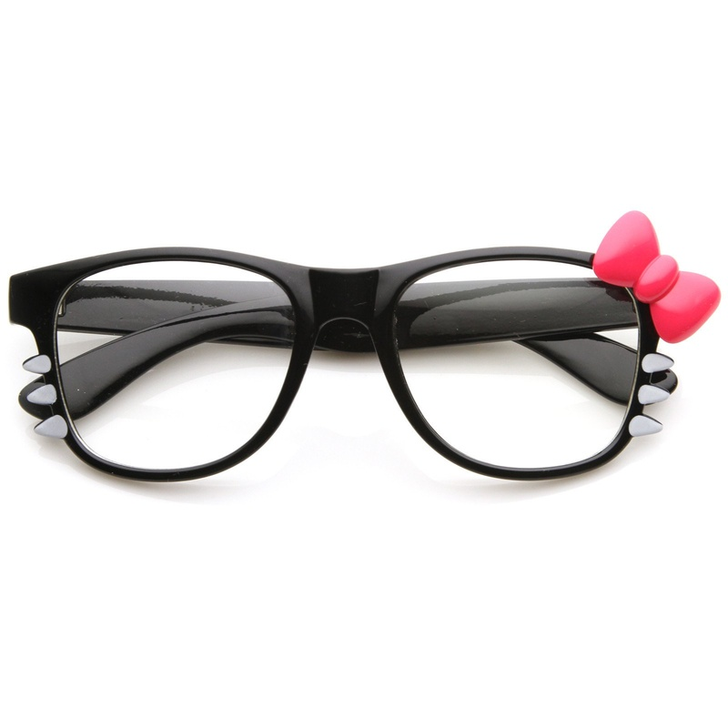 Hello Kitty Bow Clear Lens Glasses With Whiskers