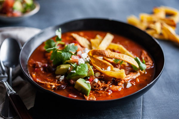 Chicken Tortilla Soup With Salsa And Homemade Tortillas