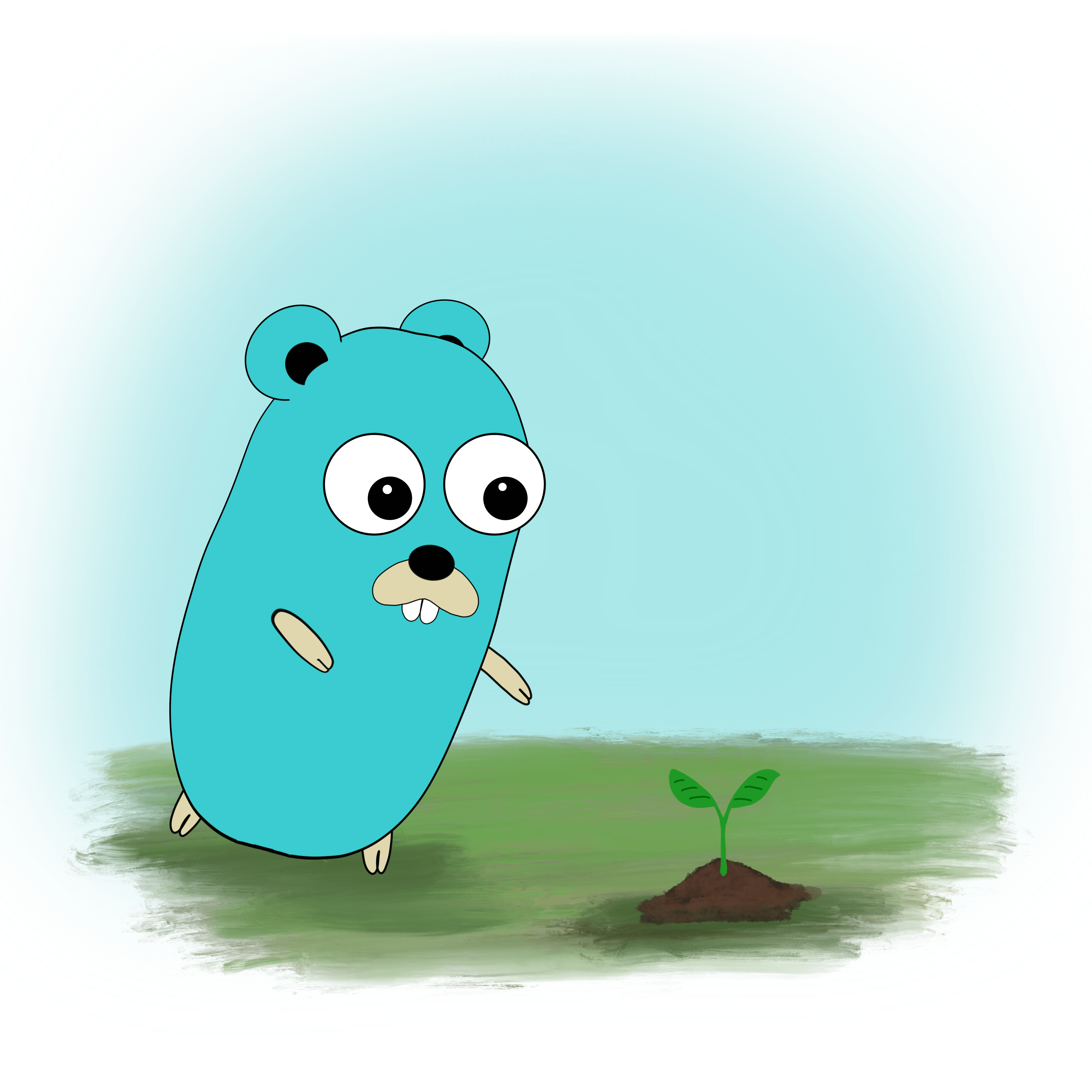Gopher planting a tree