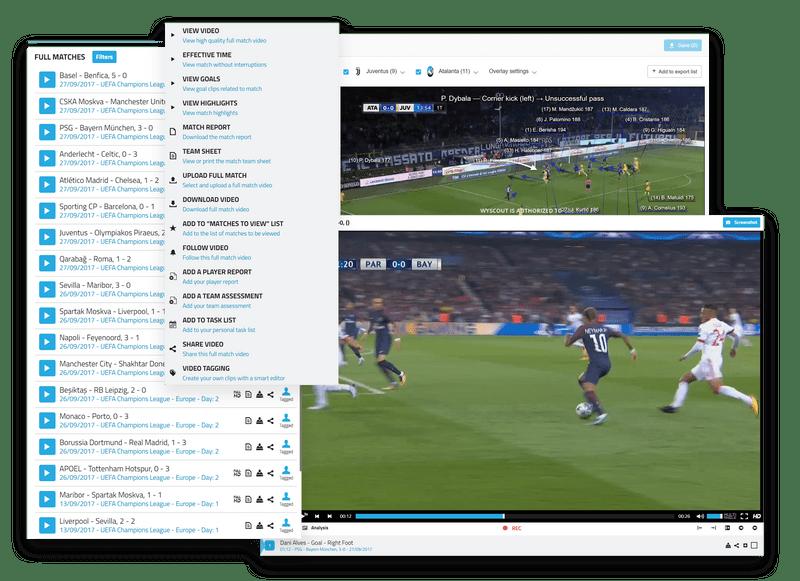 映像ライブラリ、試合のスコア、映像のタグ付けを表示する Wyscout の画像