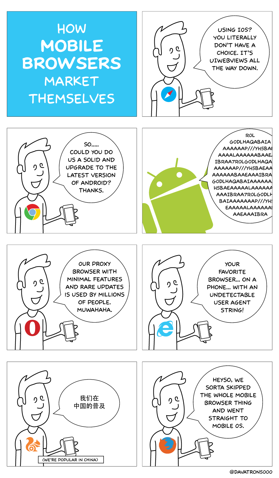 Comic about how mobile web browsers market themselves