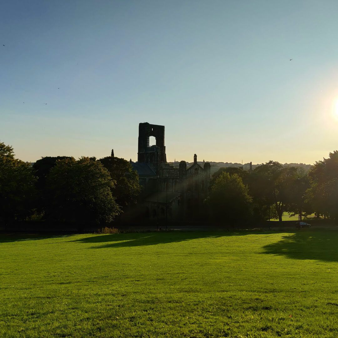 Kirkstall Abbey from a distance over a field in the evening