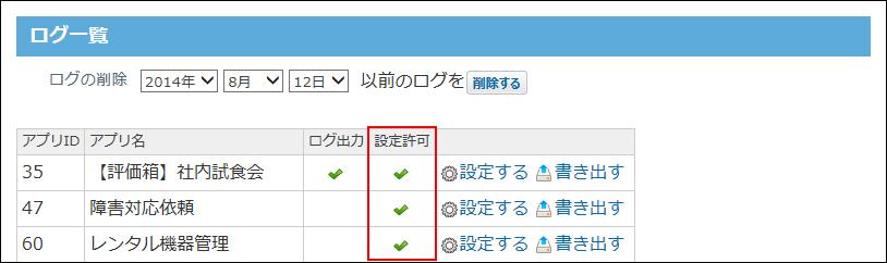 設定許可欄にチェックマークのアイコンが表示された画像