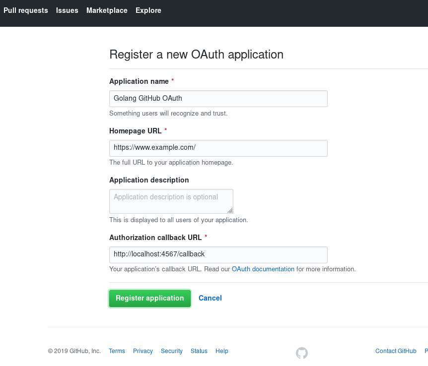 New OAuth Application