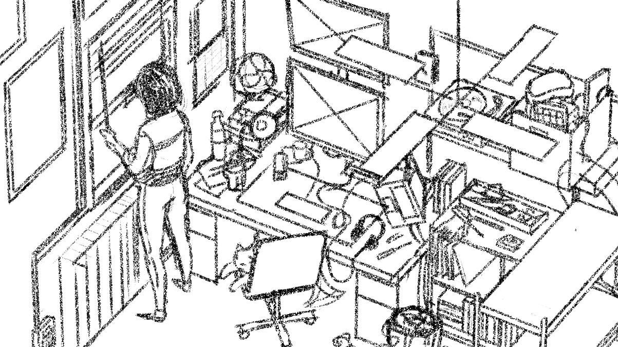Sketch of interior view.