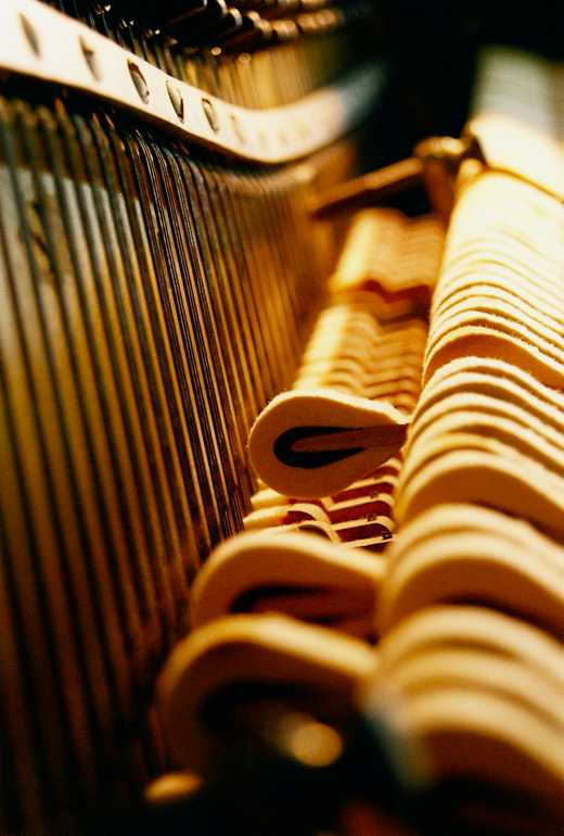 An artsy close-up of the action of an upright piano