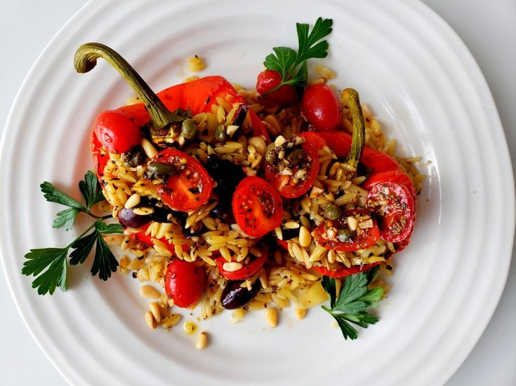 Plate with peppers stuffed with Italian orzo
