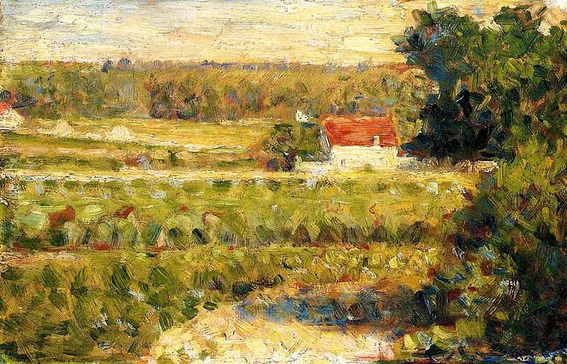 'House with Red Roof' by Seurat, 1883, currently in private collection
