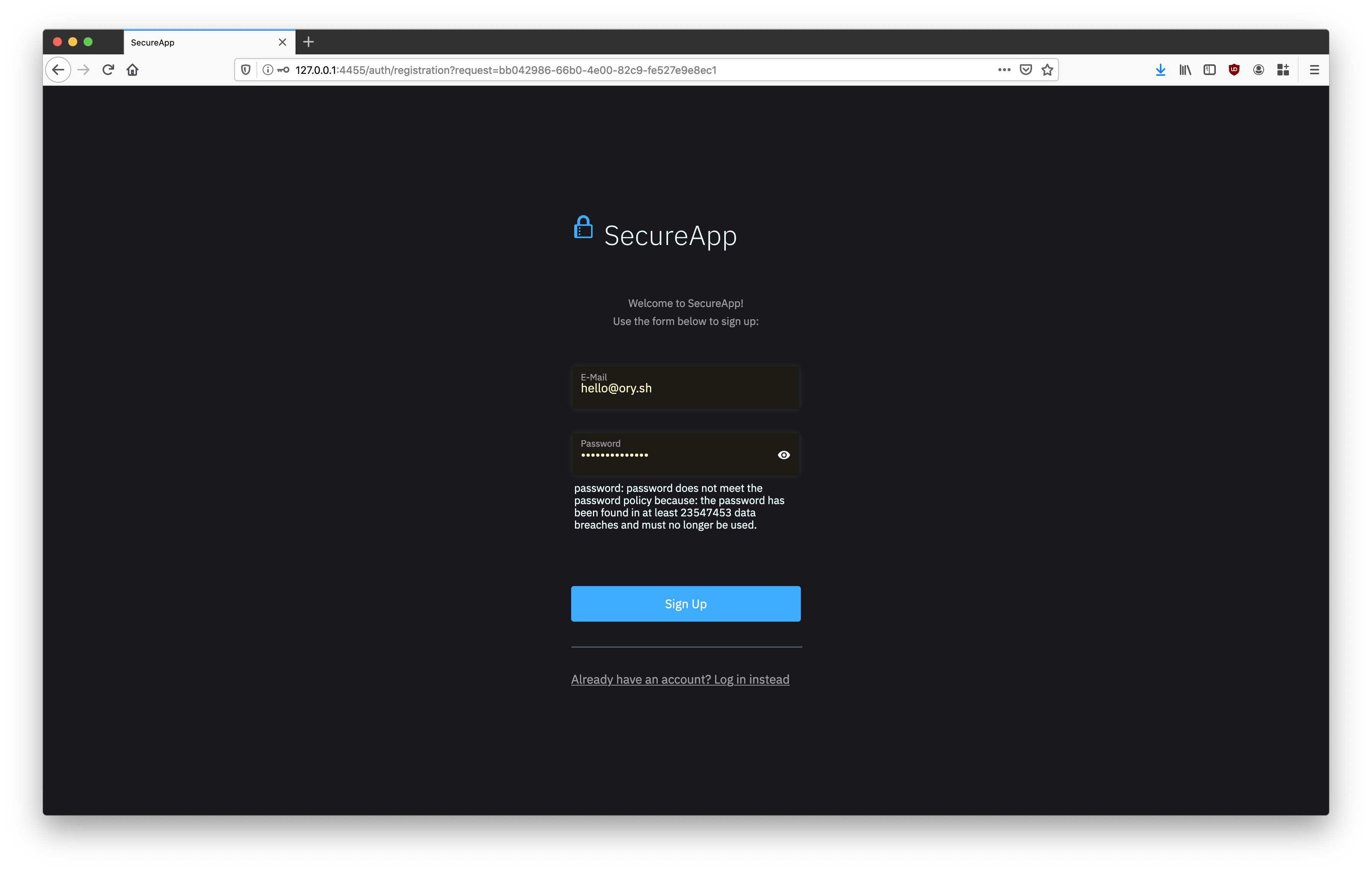Registration with network trace screen of your secured app