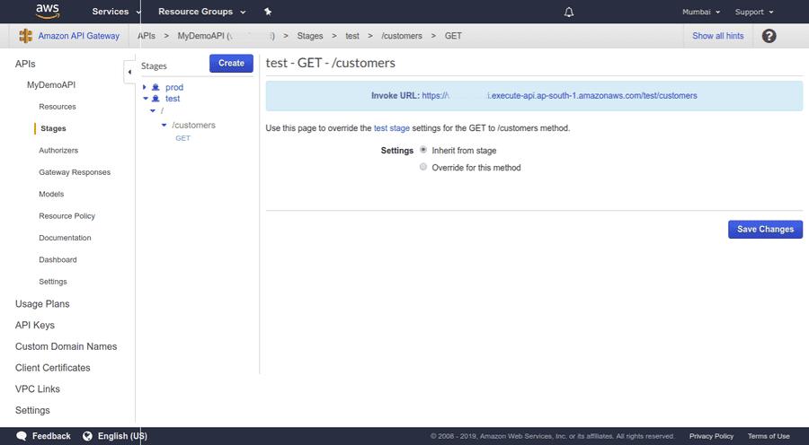 API Stage Invoke URL