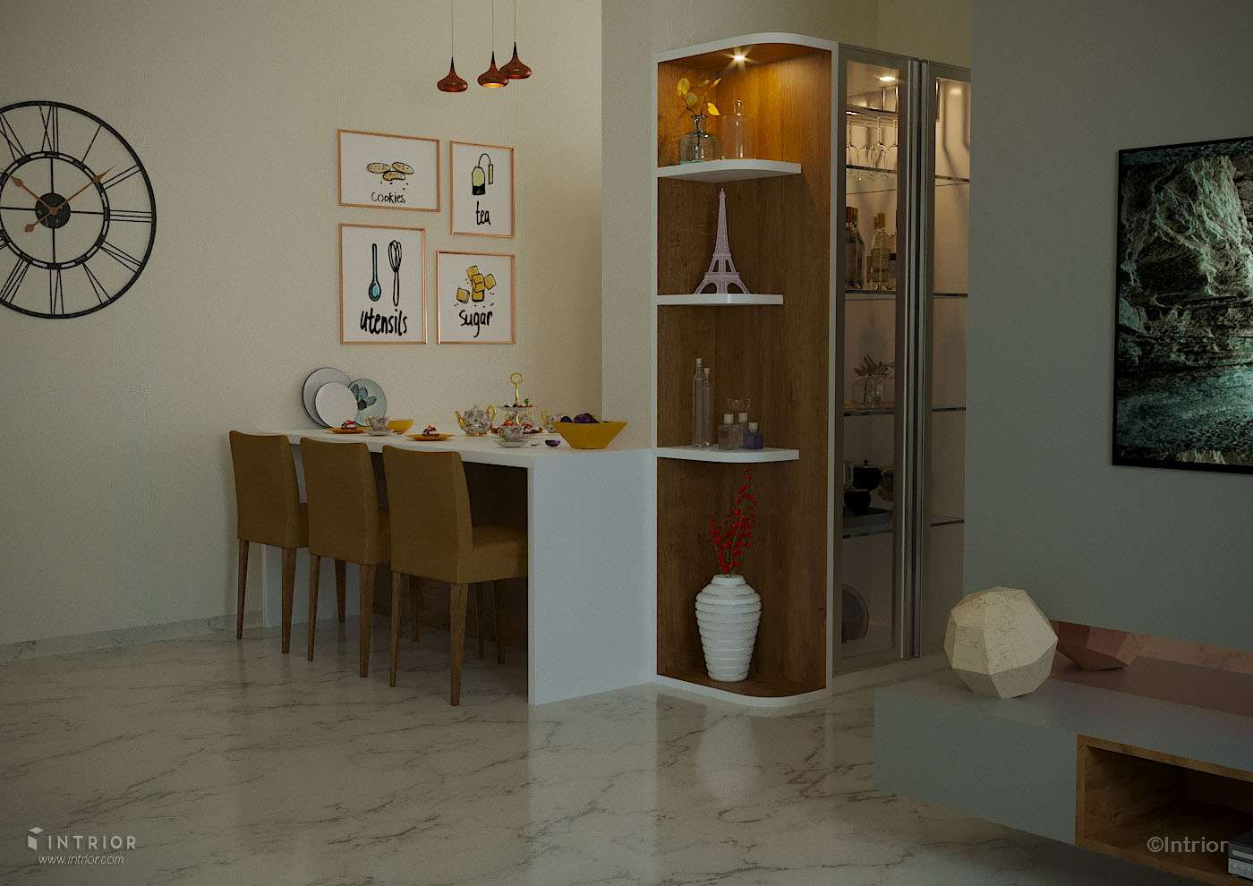 Living Room with dining table bar unit design