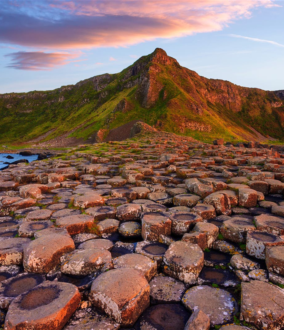 Sunset over the famous basalt columns at the Giant's Causeway.