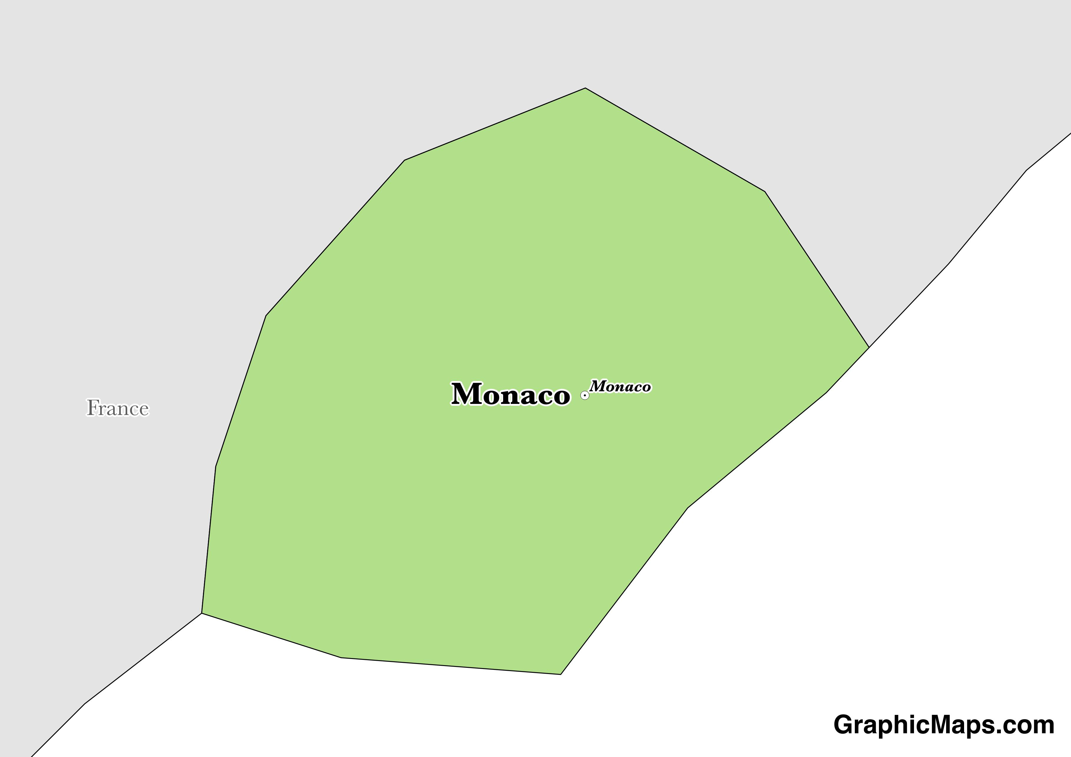 Map showing the location of Monaco