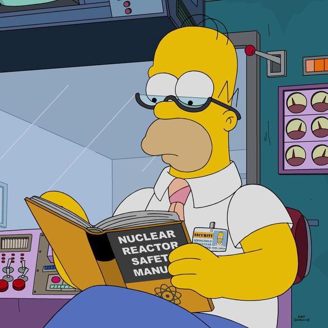 Гомер наконец решил изучить руководство потехнике безопасности ядерного реактора. Кадр измультсериала «Симпсоны»