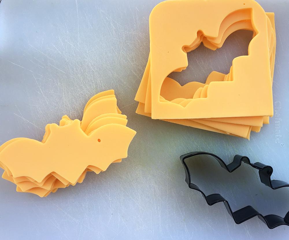 Vegan bat shaped cheese slices