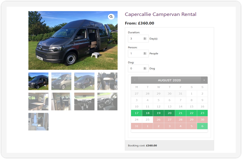The booking page of the Camperceilidh website