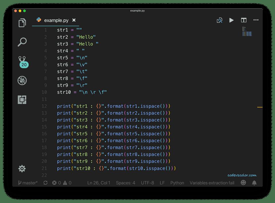 python isspace program