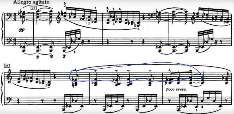The beginning of the 2nd movement of the 8th Sonata by Scriabin