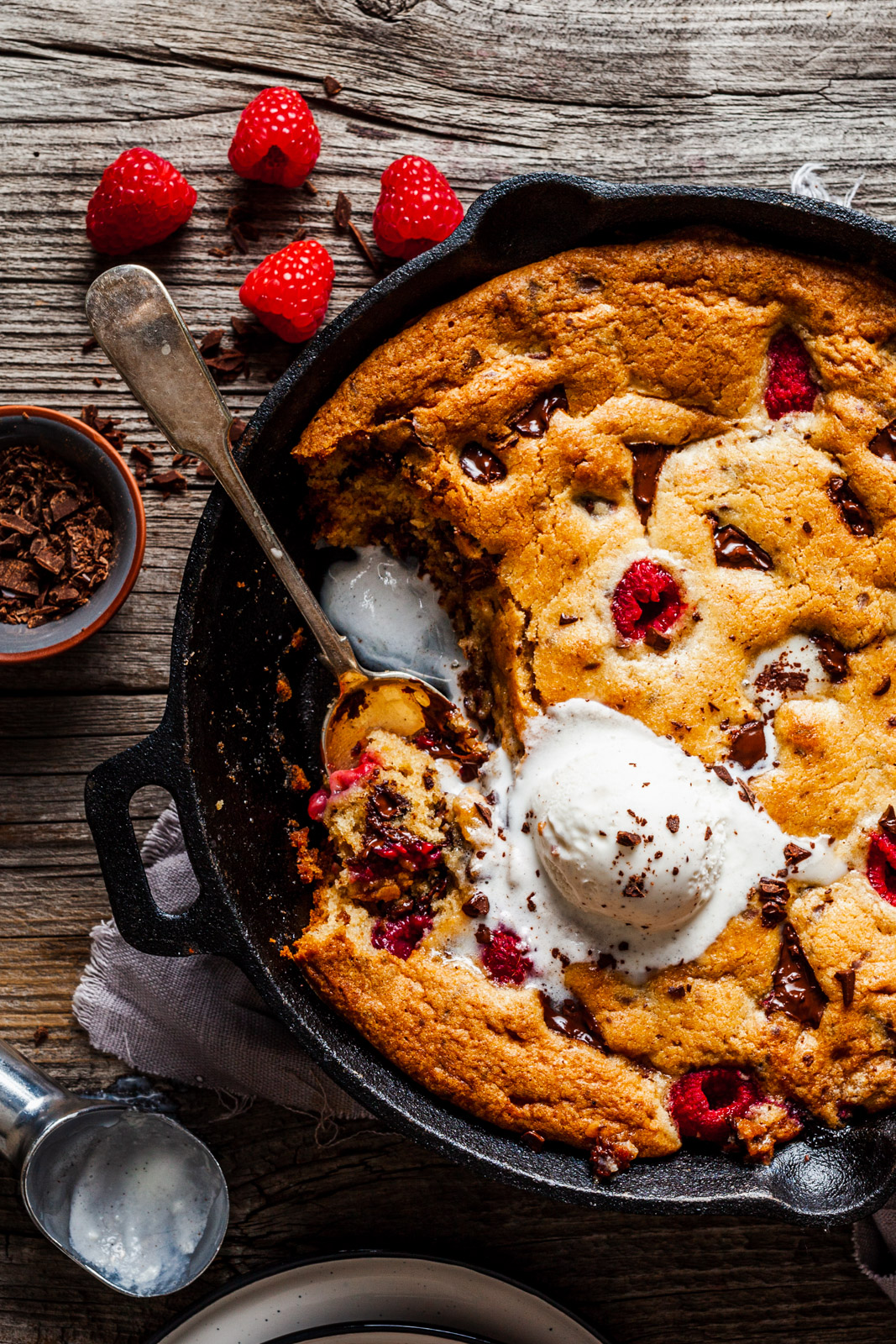 Chocolate Chip Raspberry Skillet Cookie
