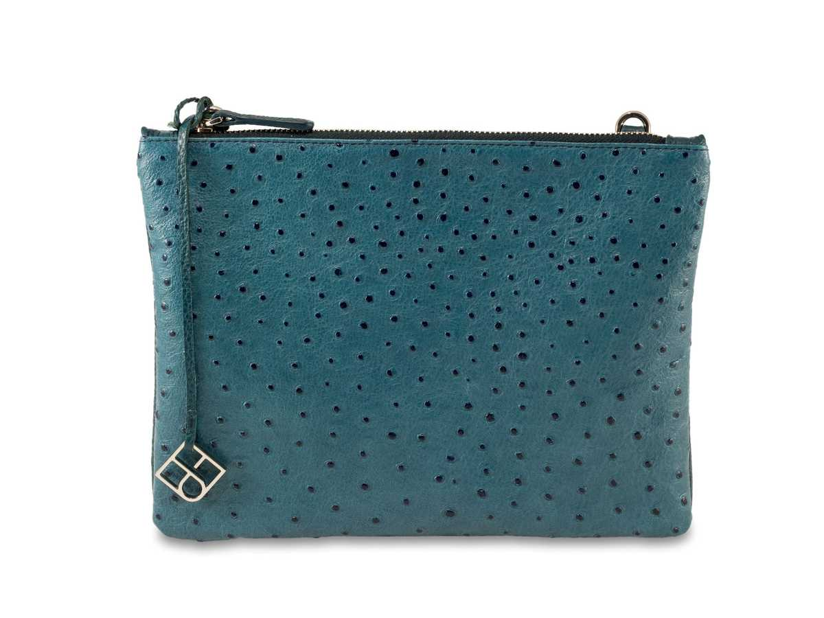 Peacock Pouch Single - petrol ostrich-look