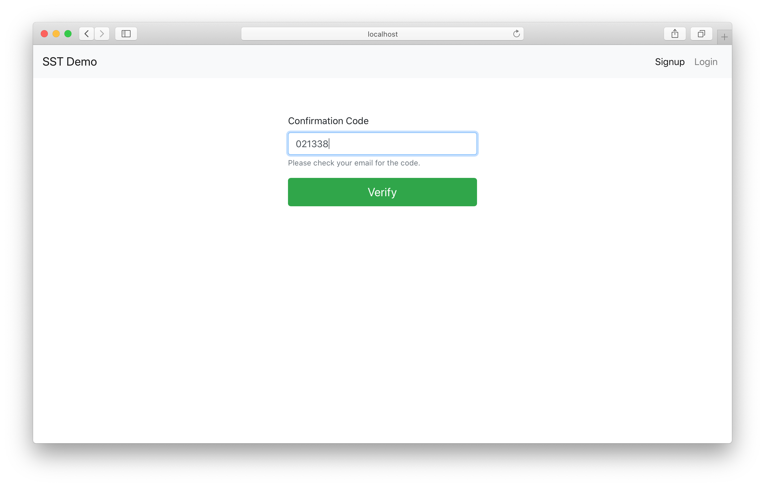 Sign up confirm Cognito in React.js app