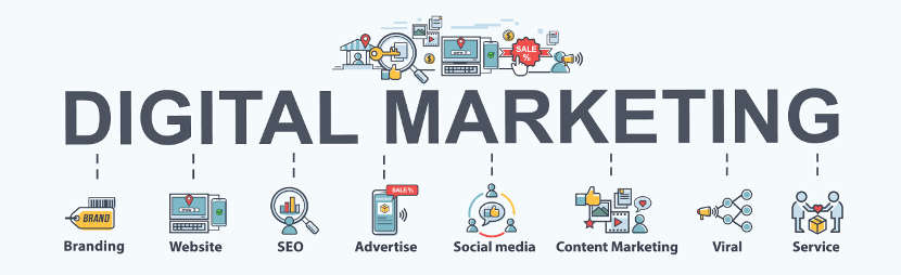 the words Digital Marketing with marketing images below relating to SEO, branding, social media and more