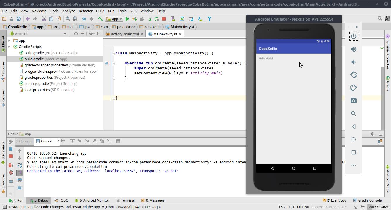 Ujicoba aplikasi Android dengan Kotlin