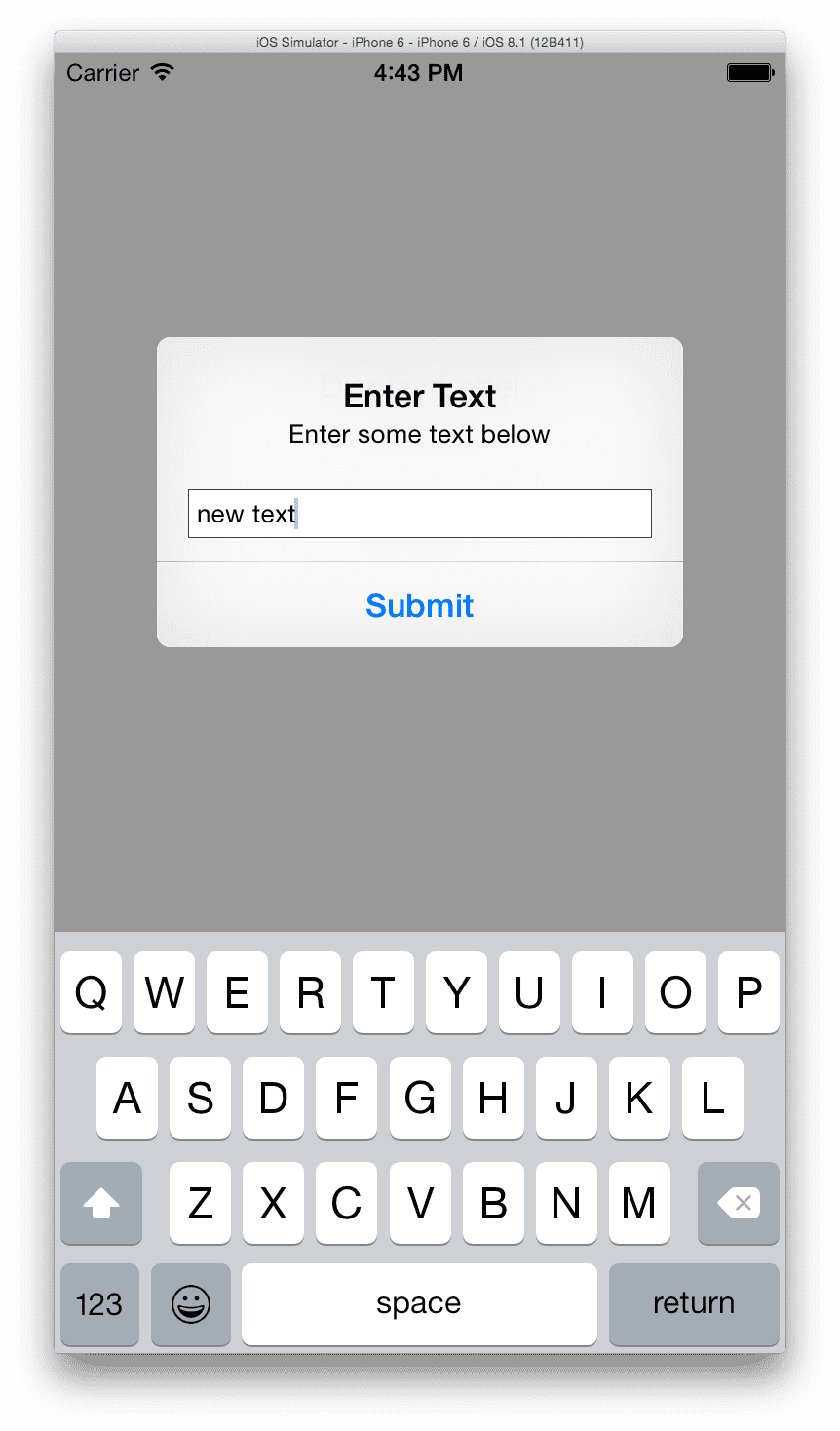 04 - iOS Simulator Alert Entry with text
