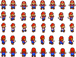 Mario Sprite (Source: https://redballbomb.deviantart.com/art/Mario-and-Luigi-Run-Overworld-Sprite-Sheet-723563974)
