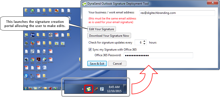 Email Signature Installer Options Screen