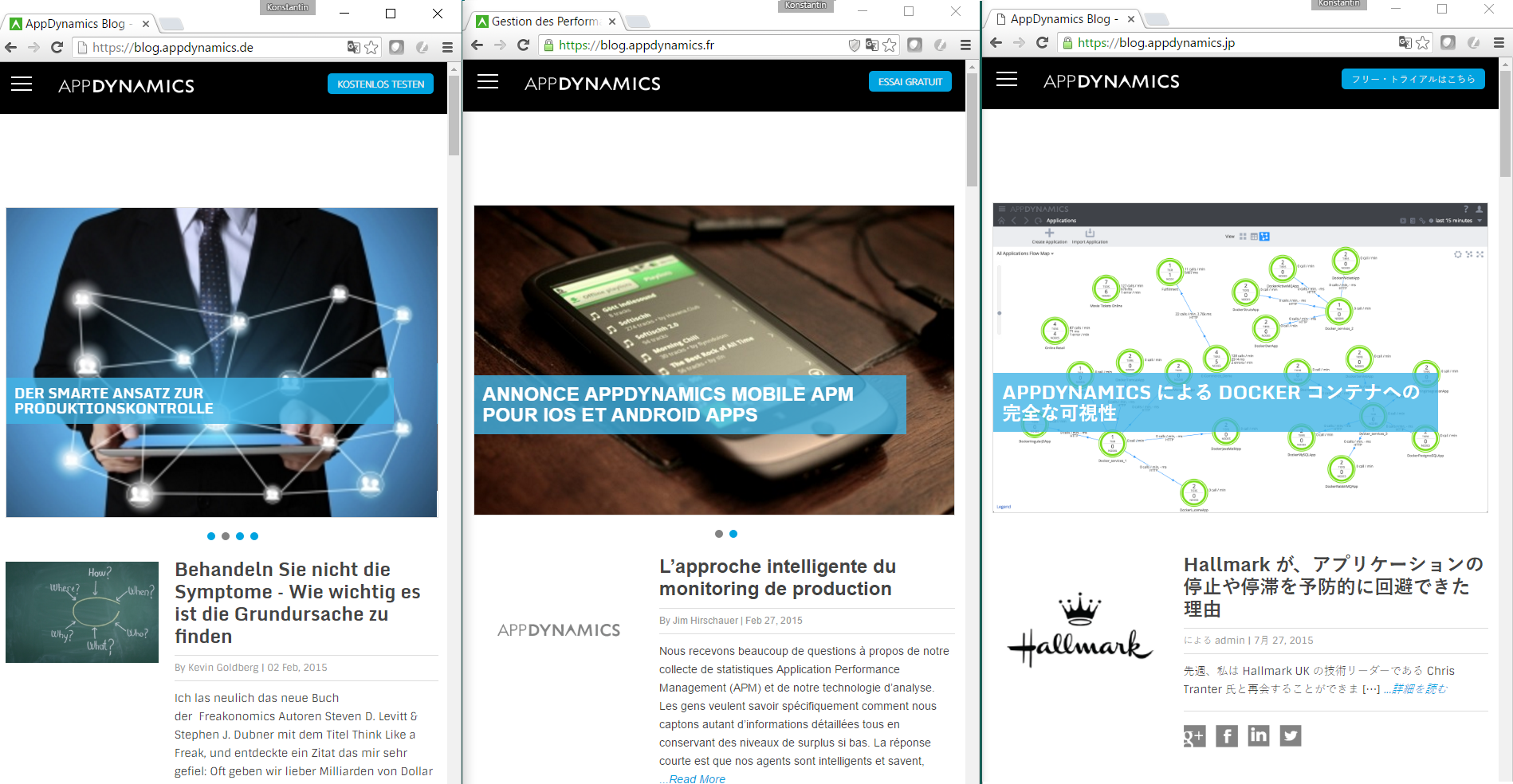 Appdynamics blogs in French, German and Japanese show different content