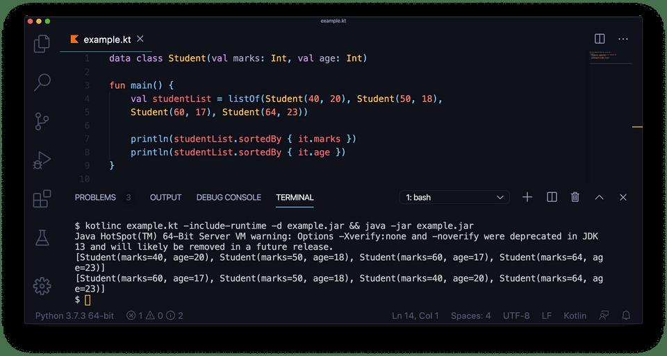 Kotlin sortedBy example