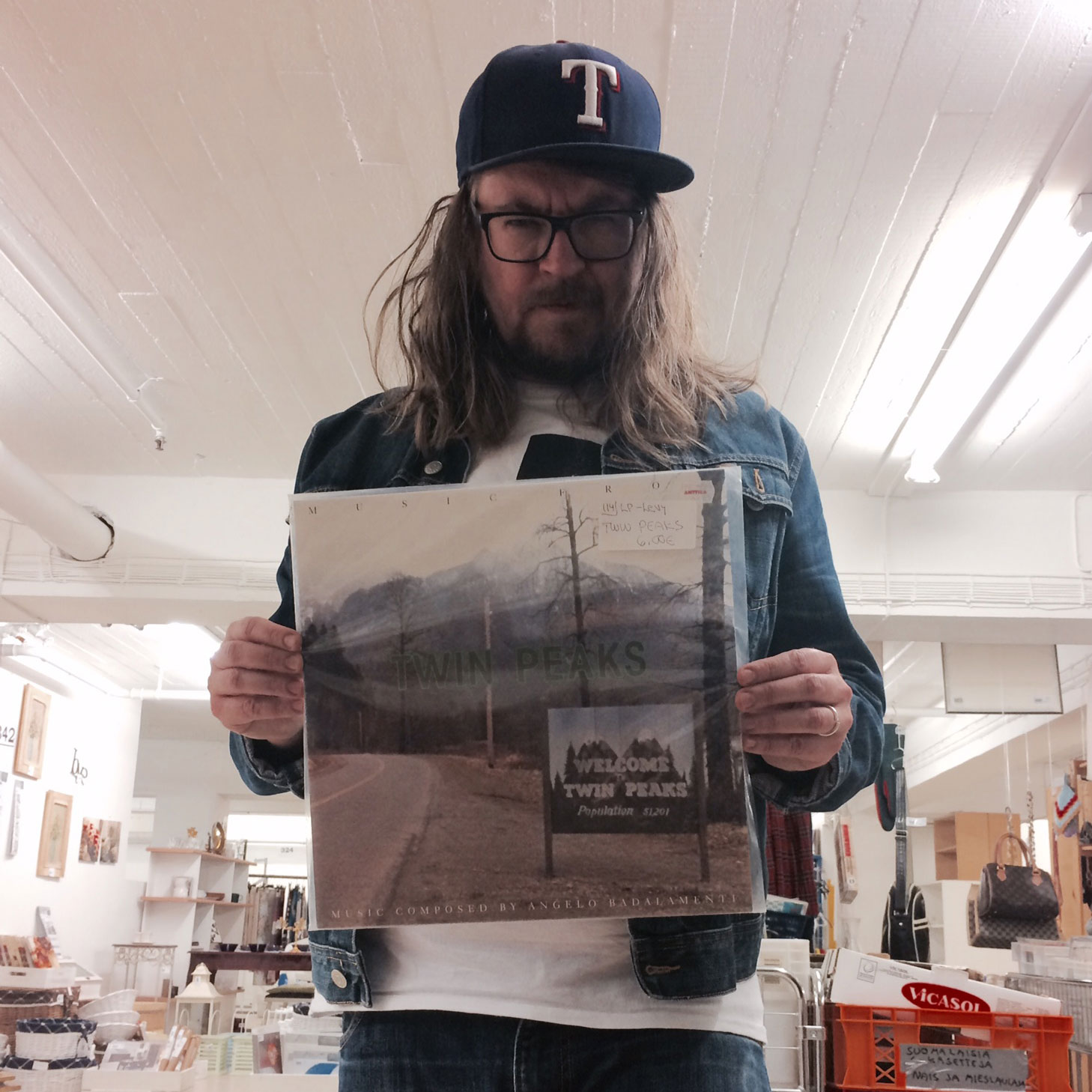 The author holding a copy of the Twin Peaks soundtrack.