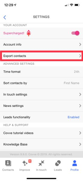 Contacts export to CSV screenshot2
