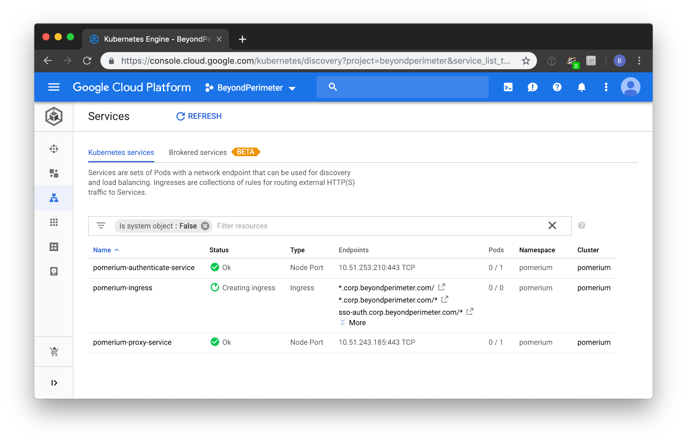 Google's Kubernetes Engine dashboard