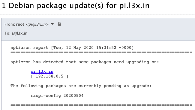 Screenshot of an email from my Raspberry Pi