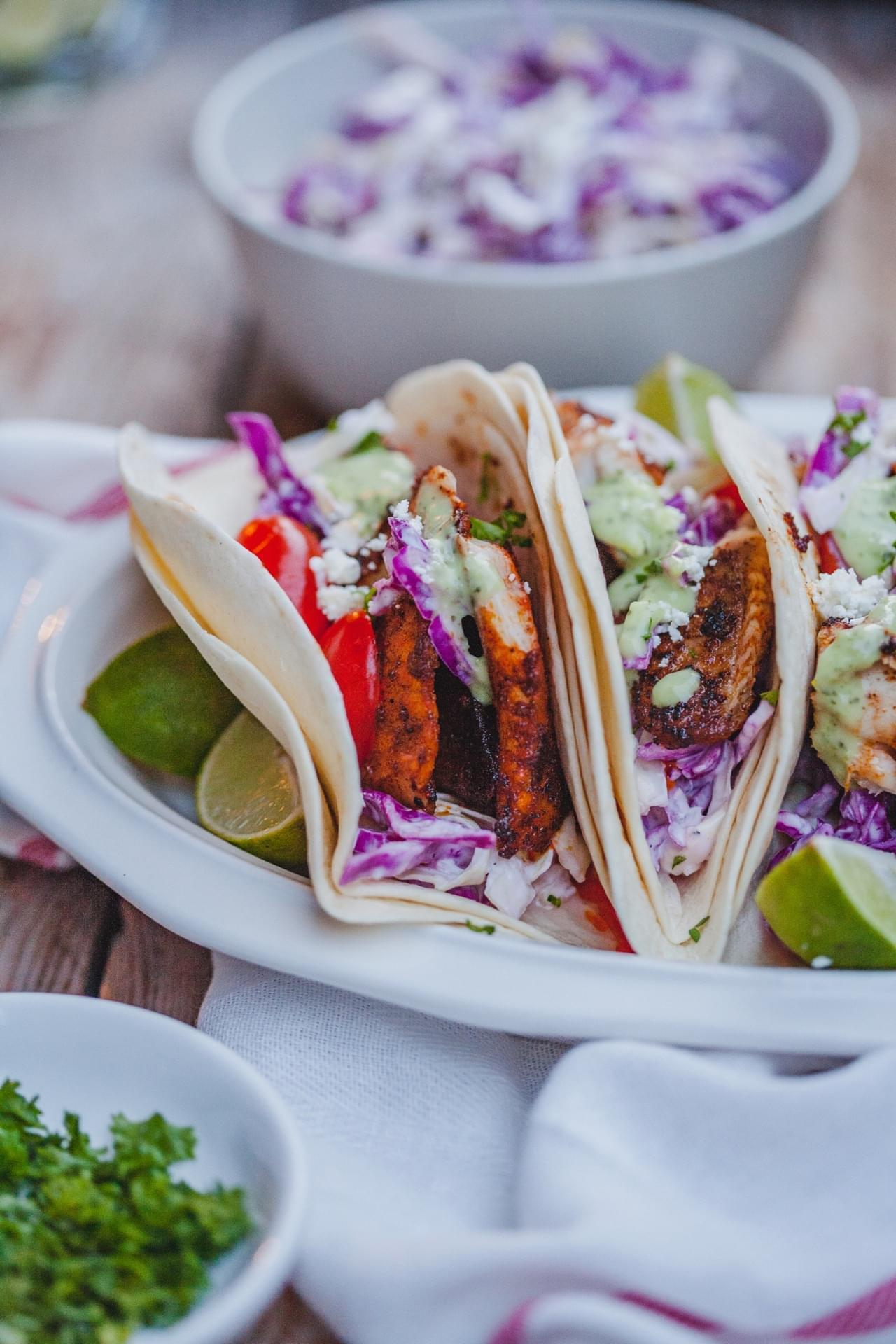 Fish Tacos With Coconut Lime Cilantro Sauce
