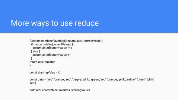 Using Reduce 10