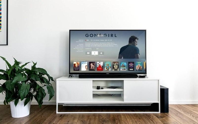 Uma TV em cima de um rack exibindo a tela do Apple TV com a série Gone Girl selecionada. No lado esquerdo do rack possui uma planta em um vaso branco.